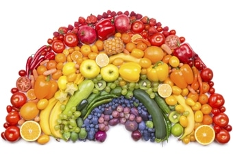 Boost your immunity with foods. A rainbow made with fruits and vegetables.