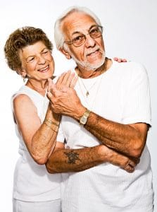 Exercises for seniors. Senior couple close to each other.