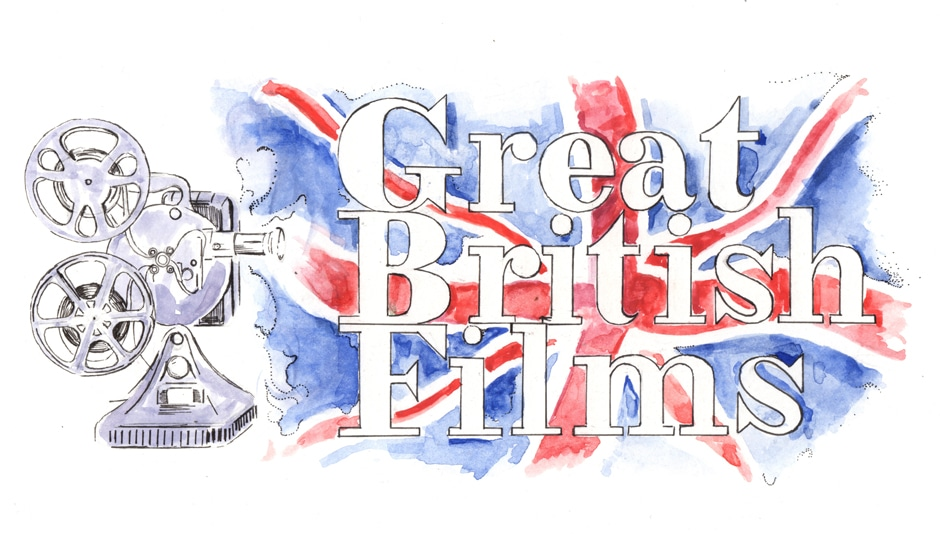 British movies - image of the union jack with the words 'great british movies' across it.
