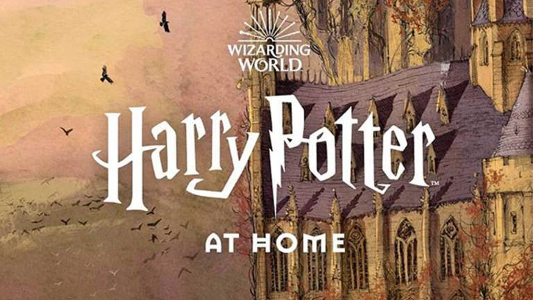 Harry Potter online - Image of hogwarts and the text 'harry potter at home'