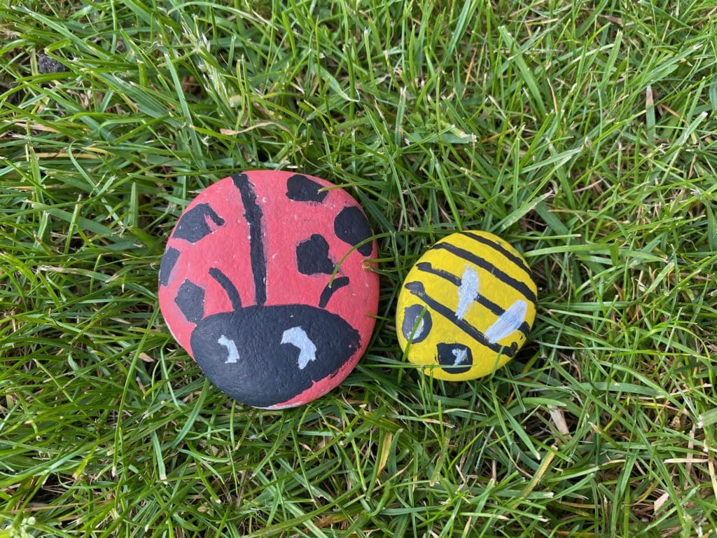 Image of 2 pet rocks - painted stone animals