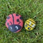 Image of 2 pet rocks - painted stone animals