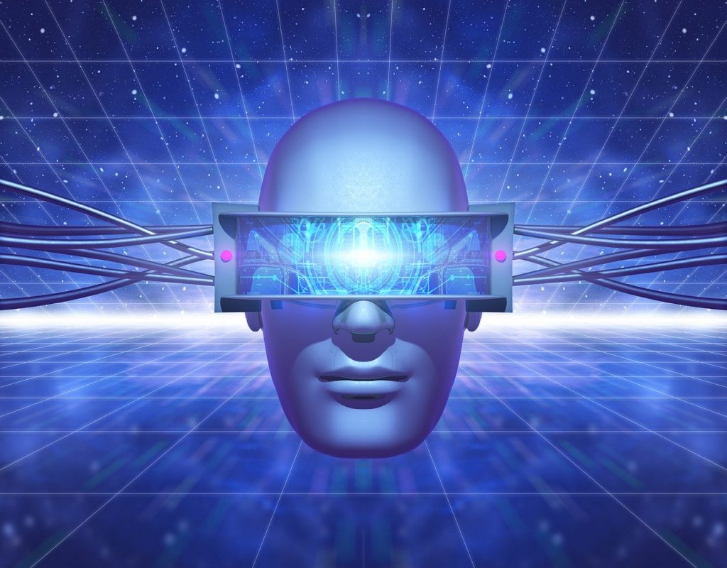 drawing of a blue head floating against a blue background, wearing virtual reality glasses.