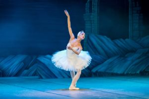 watch ballet: female ballet dancer on stage with blue background