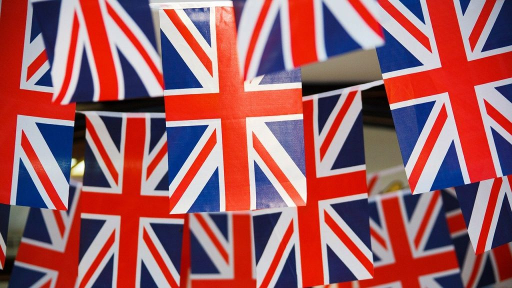 a picture of union jack bunting to celebrate VE days 75th anniversary