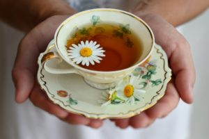Healing plants - a cup of chamomile tea