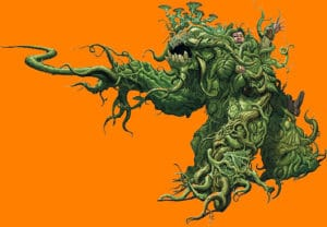 large plant attacking a small boy on an orange background
