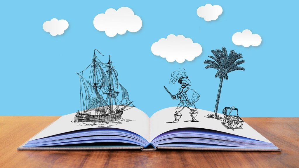 pirates of the carribean activities at home - drawing of priates and a pirate ship popping up from a book