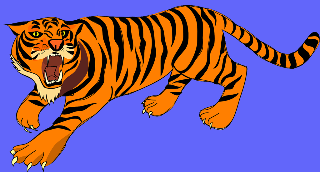 drawing of tiger roaring, on a blue background