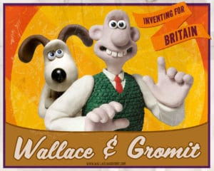 watch wallace & gromit films - image of cartoon characters wallace & gromit on a yellow background