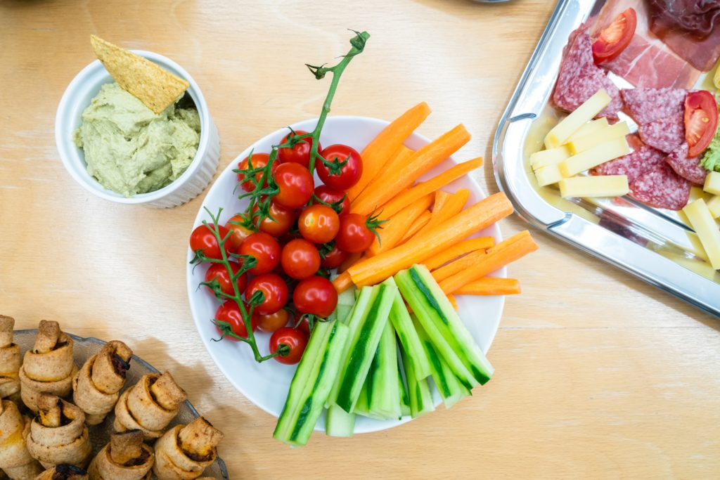 rainbow party food-sliced vegetables and dip