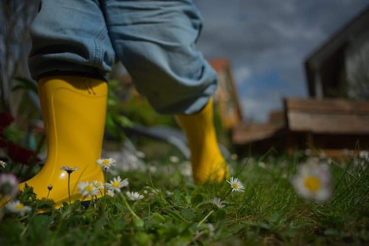 Try planting for kids - image of a child in boots