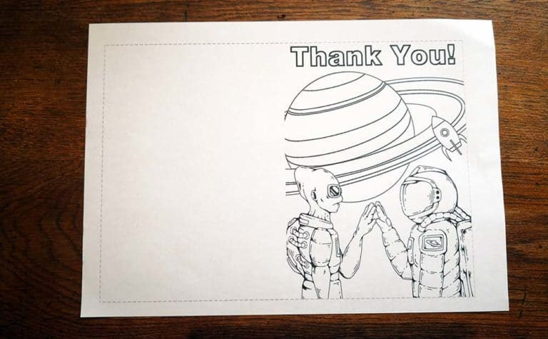 thank you cards for kids to make - image of A4 printed sheet with alien and spaceman thank you card design, ready for colouring in.