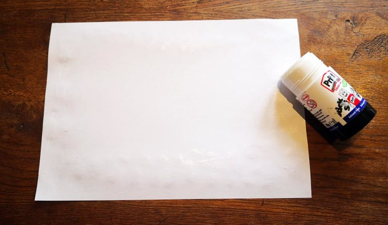 thank you cards for kids to make - image of a piece of blank A4 paper and a glue stick.