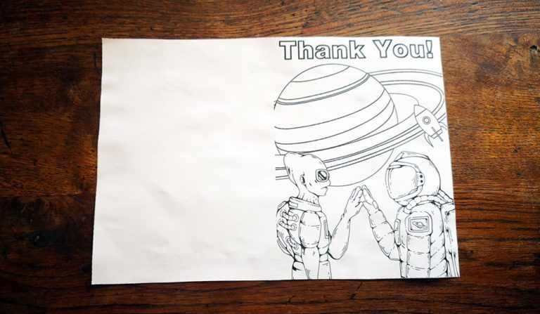 thank you cards for kids to make - image of printed A4 sheet with thank you card design, trimmed down.