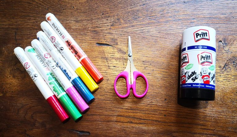thank you cards for kids to make - stuff you will need - image of coloured pens, a pair of pink children's scissors, and a glue stick.